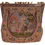 Vintage Petit Point Purse with Scenic and Figural Decoration And Jewel Frame