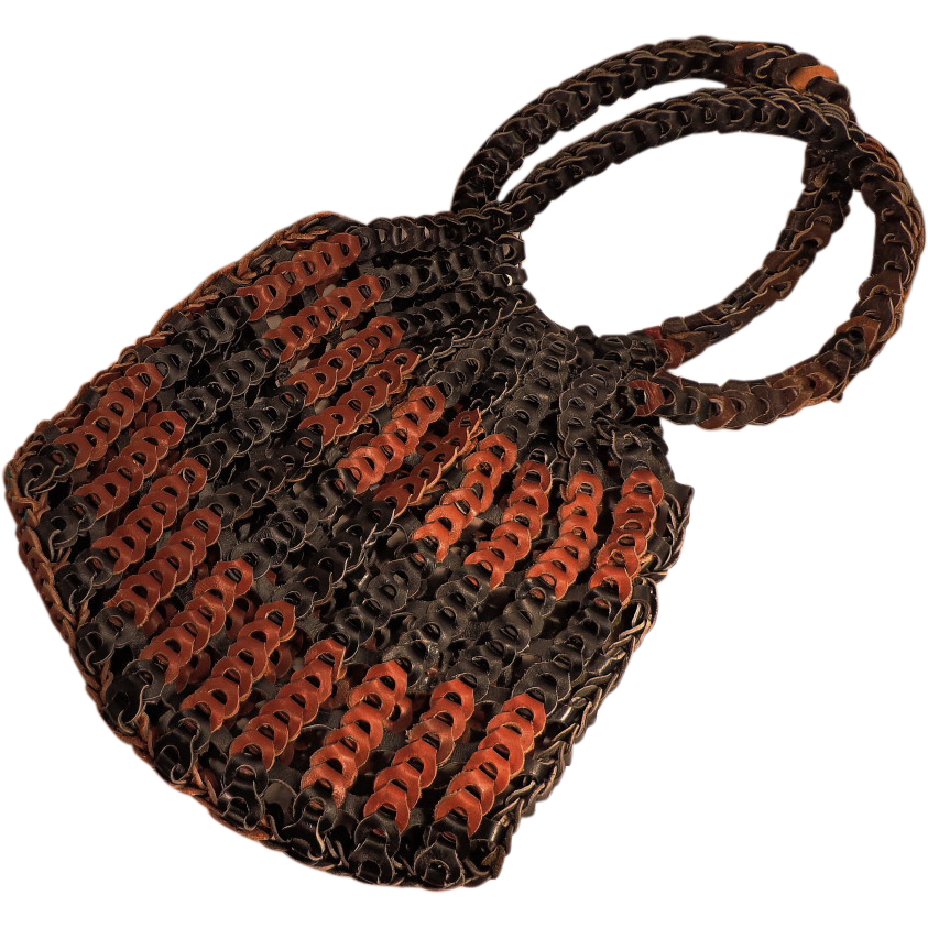 Vintage Large Black and Brown Leather Woven  Hippie Boho  Purse