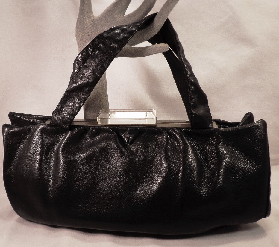 Vintage Black Leather Purse With Clear Lucite Clasp