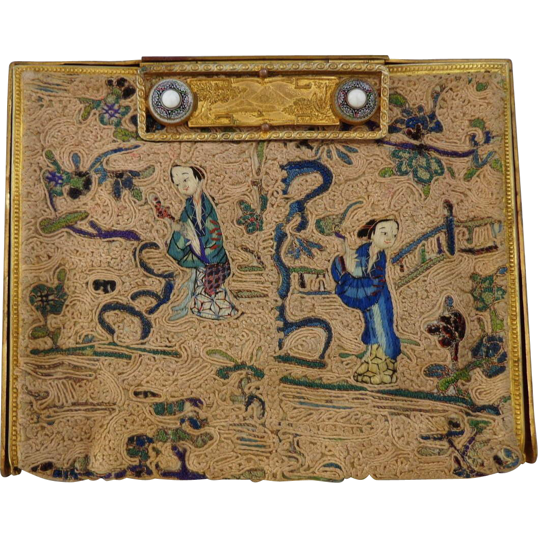 Vintage Rare Satin Stitched Chinese Purse