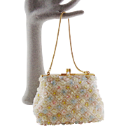Vintage  Iridescent Add to Your Dictionary  Flowers Outlined With Beads and Sequins Purse