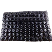 Vintage Black Plastic Squares Clutch Purse