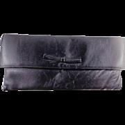 Vintage Black Leather Clutch Purse by Jane Shilton