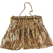 Vintage Gold Mesh Purse with Jeweled Frame by Whiting and Davis
