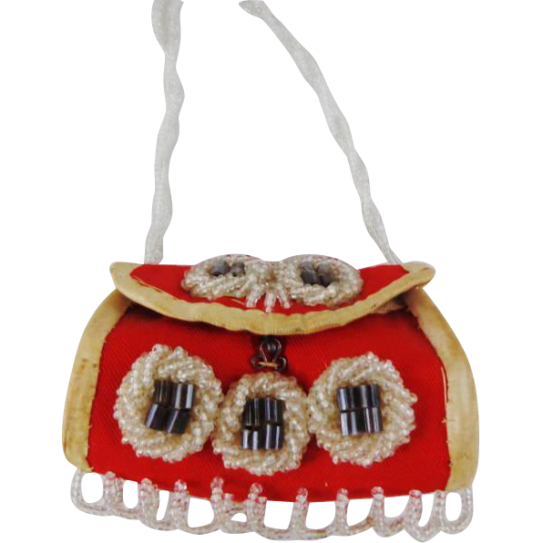 Vintage  Tiny Souvenir Purse Made by Iroquois Native Indians