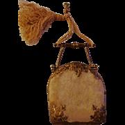 Vintage Mid 1800s Beige Velvet Coin/Purse