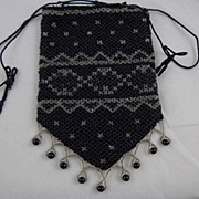 Vintage Black Beaded Reticule Purse