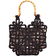 Vintage Black Raffia Woven Flowers Purse by Walborg