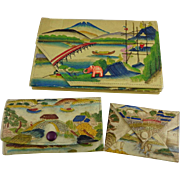 Vintage Three Piece Asian Scenic Clutch  Wallet Coin Purses