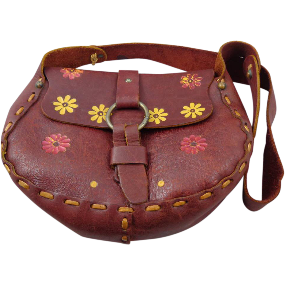 Vintage 1970s Brown Leather Flower Painted Boho Purse