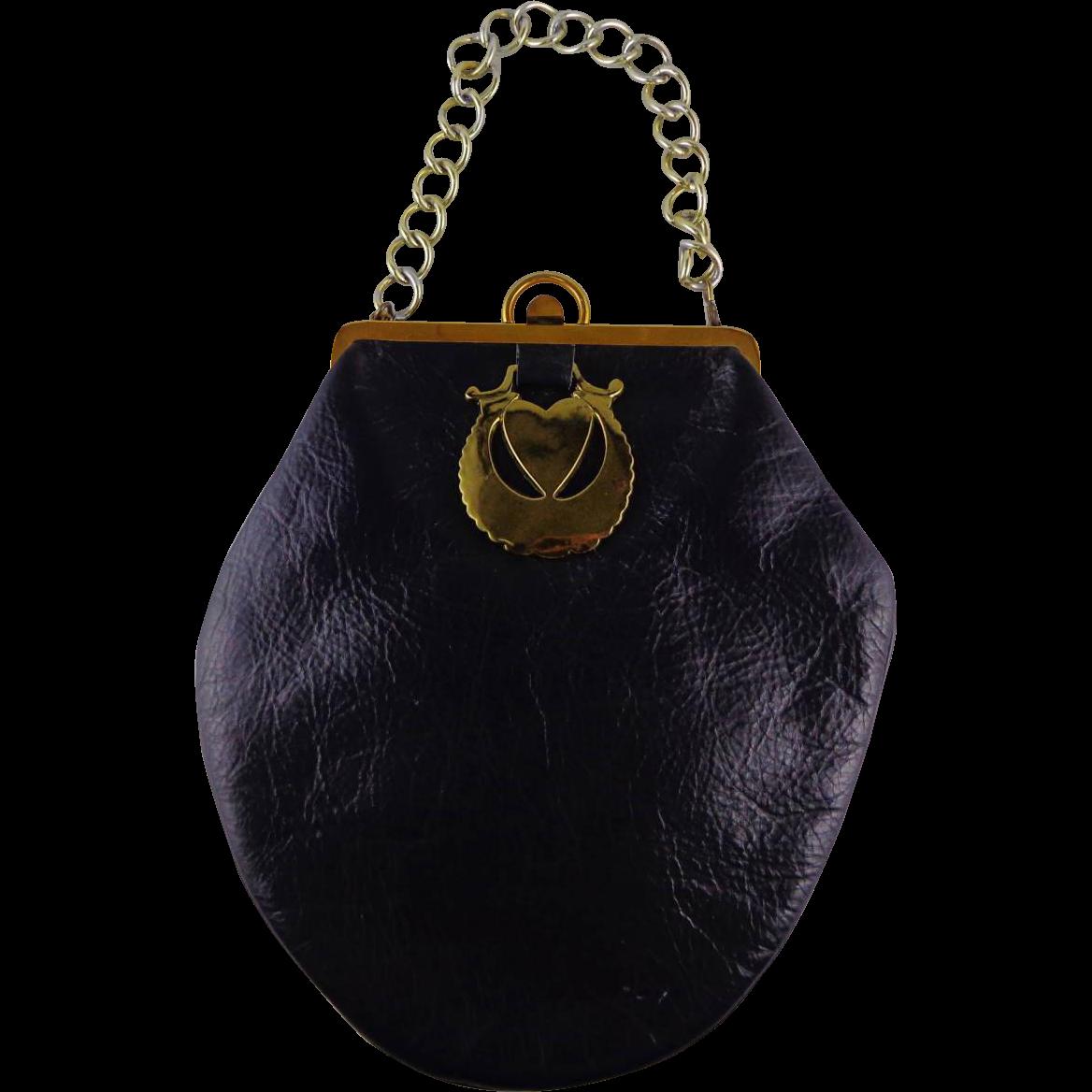 Vintage Black Leather  Purse by Roger Van
