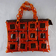 Vintage Squares and Handle Lucite With Brown Vinyl Purse