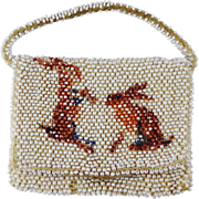 Vintage Child's Beaded Purse With Two Rabbits