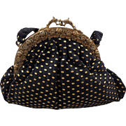Vintage Black Purse with Gold Sewn Dots With Foo Dog Clasp