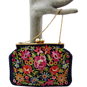 Vintage French Blue Satin Purse With Tambour Embroidery