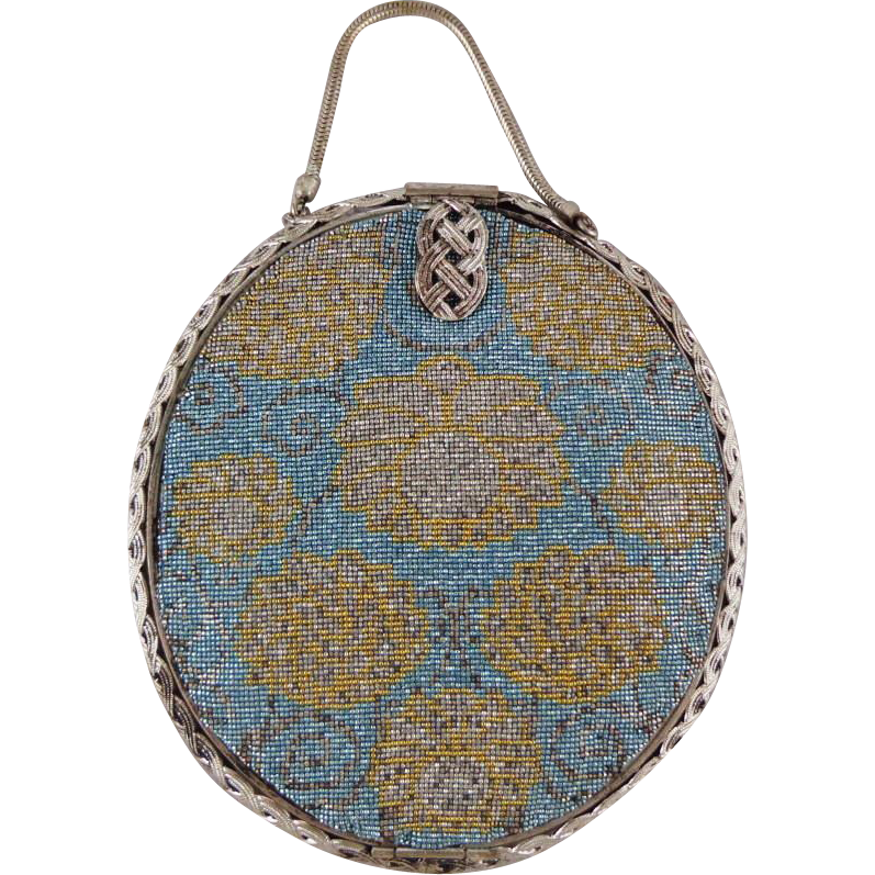 Vintage Gold and Blue Steel Beaded French Purse
