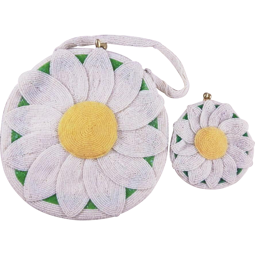 Vintage Beaded Daisy Purse and Matching Coin Purse