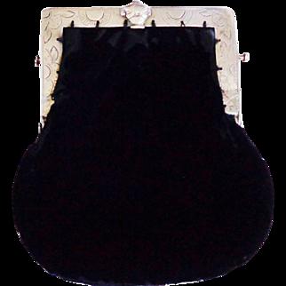 Vintage  Black Velvet Unique Clasp Purse