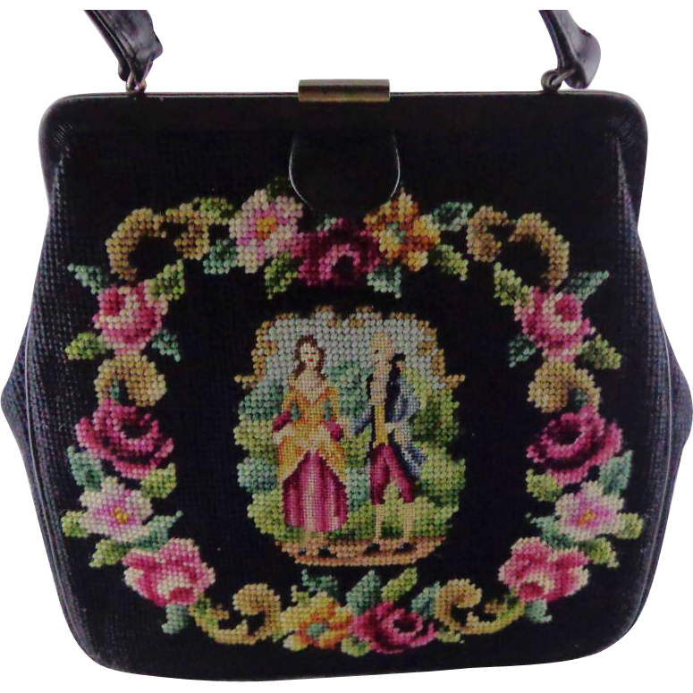 Vintage Needlepoint Purse With Petit Point 18th Couple in the  by Delill