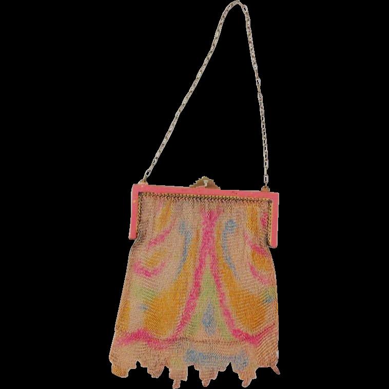Vintage Pink Enamel Frame Mesh