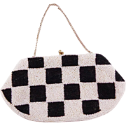 Vintage White And Black Checkerboard Beaded Clutch