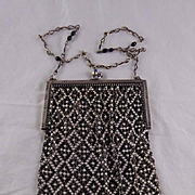 Vintage Mesh Purse With Tapestry Design made by Whiting & Davis