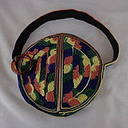 Vintage Round and Striped Silk Purse