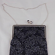 Vintage Black and Silver Fine Beaded Purse