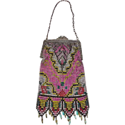Vintage Art Deco Colorful Beadlite Mesh Purse With Drops by Whiting & Davis