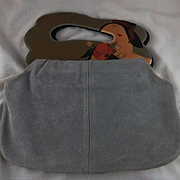 Vintage Grey Suede Purse With Decorative Handles