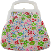 Vintage White Floral with Plastic Dots Purse