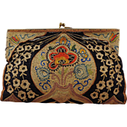Vintage Tambour Embroidered Clutch Purse