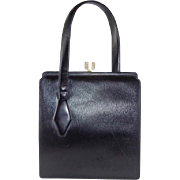 Vintage Sleek Black Leather Handbag Purse by Jerry Moss Holiday