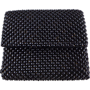 Vintage Black Bubble Mesh Wallet by Whiting Davis