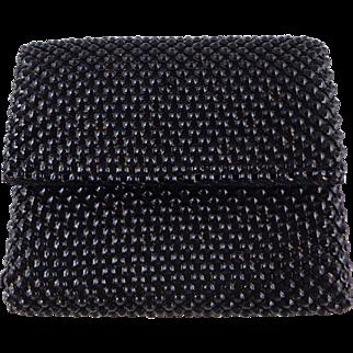 Vintage Black Bubble Mesh Wallet by Whiting Davis