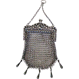 Vintage W&D Sterling Ring Mesh Purse
