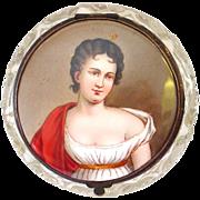 Handpainted Miniature Portrait Madame Recamier Topped Hinged Lidded Cut Crystal Dresser Jar