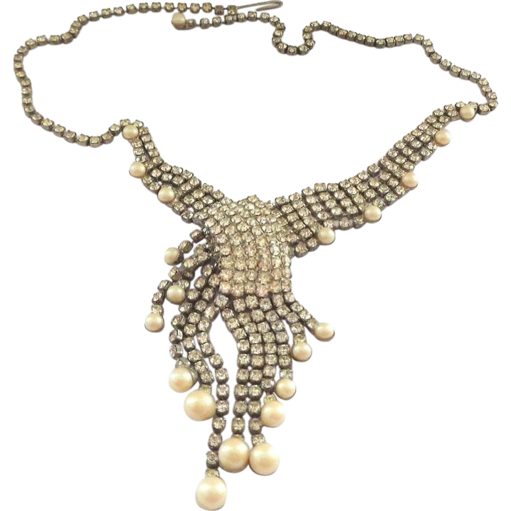 Vintage Rhinestone & Faux Pearl Necklace with Fabulous Asymmetric Design