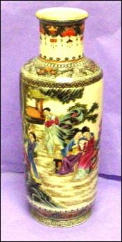 Chinese Export Handpainted Enamels on Porcelain Vase - Spectacular