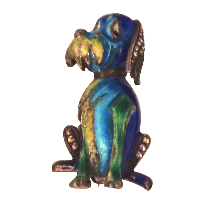 Enamel on Sterling Silver Made in Germany Fantasy Dog