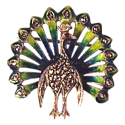 Caviness Designed Enamel on Sterling Silver and Marcasite Peacock Pin