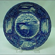 Antique Staffordshire Blue and White Historical Plate of Niagara Falls