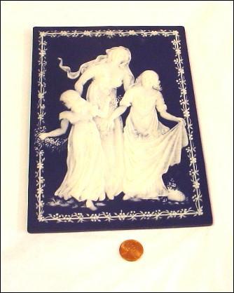 Mettlach Plaque Pate Sur Pate Mother's Day 1978 Jasperware/Jasper Ware