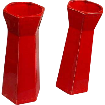 Pair of USA Mandarin Red Vases w/Greek Key Motif