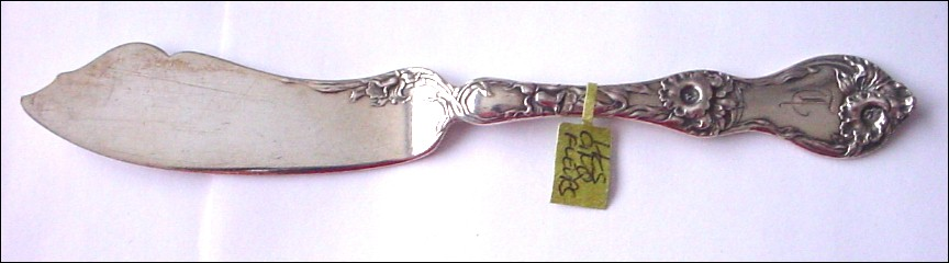 Antique Sterling Silver Reed & Barton Les Cinqs Fleur (Irises and Orchid) Fish Knife