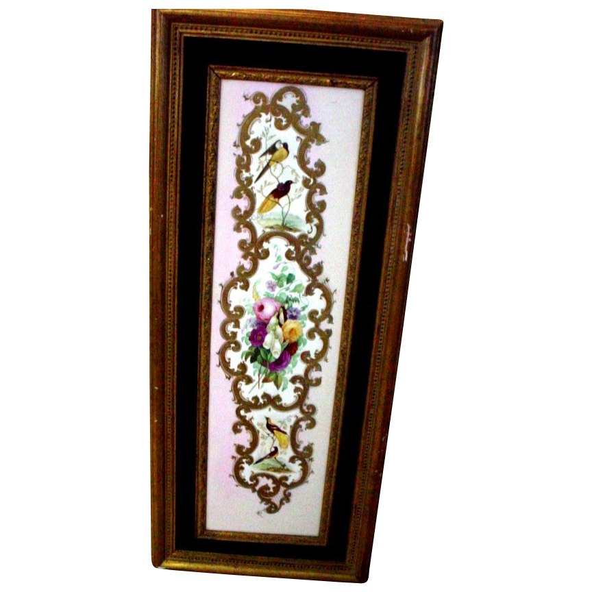 Spectacular, Rare, Large Handpainted Copeland Garrett Plaque 1833-1847 with Birds and Flowers, Roses and Birds of Paradise, etc.
