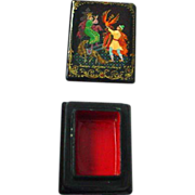 Handpainted Russian Lacquer Papier Mache Tiny Firebird Legend Box