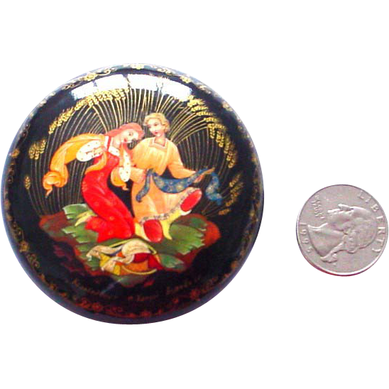 Round Handpainted Legend Box Papier Mache Russian Kholui