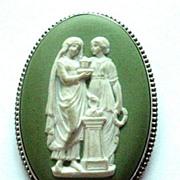 Vintage Wedgwood Jasperware/Jasper Ware Sterling Silver Brooch/Pin