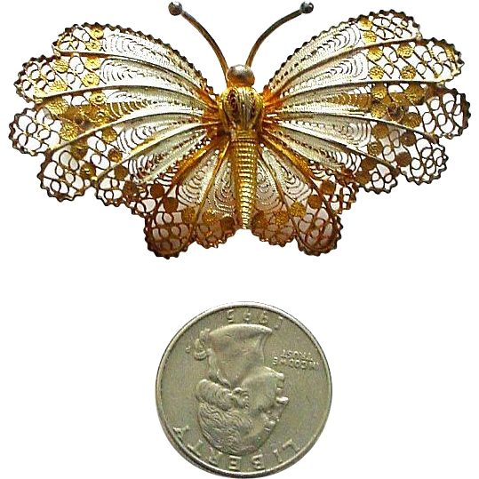 "Very Large 2 1/2""  Filigree and Enamel Gilded Butterfly Pin Italian 800 Silver"